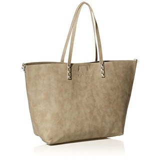 BCBGeneration Womens Rendezous Tote Handbag Faux Leather Textured - Taupe - Large