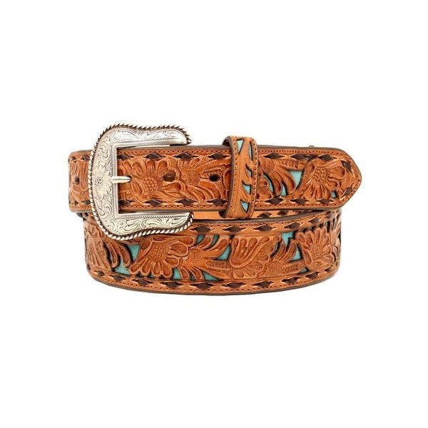 Nocona Western Belt Mens Floral Overlay Buck Stitch Tapered