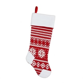 """21.5"""" Alpine Chic Red and White Knitted Snowflake Christmas Stocking with White Fleece Cuff"""
