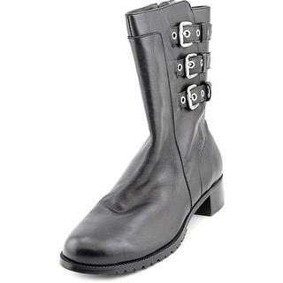 Adrienne Vittadini Trojan Women Round Toe Leather Black Mid Calf Boot