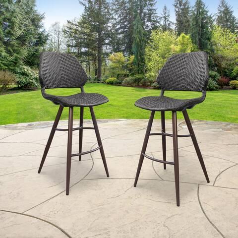 Abbyson Laryn Outdoor Wicker Patio Bar Chair (Set of 2)