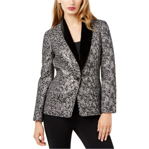 SB Womens Velvet Trim One Button Blazer Jacket, metallic, 10