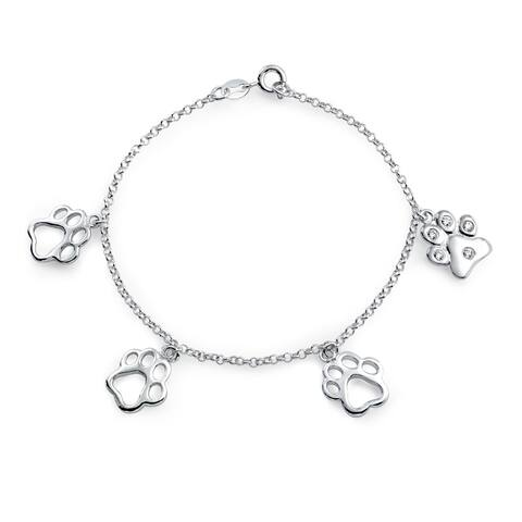 BFF Pet Lover Cat Puppy Kitten Dog Paw Print Charm Bracelet For Women For Teen 925 Sterling Silver