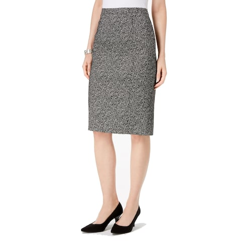 Kasper Womens Skirt Black White Size 8P Petite Abstract Patterned Pencil