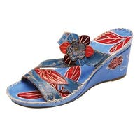 "Women's Antigua Wedge Sandals - Red Floral & Blue Leather 1.5"" Heels"