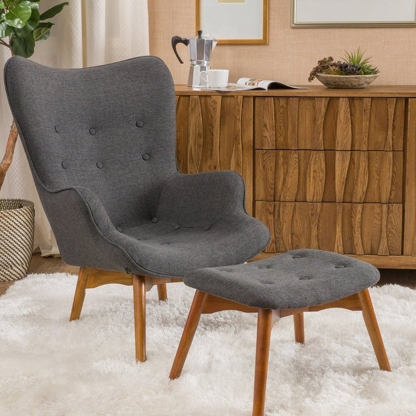Hariata Mid-century Wingback Fabric Chair/Ottoman Set by Christopher Knight Home. Opens flyout.
