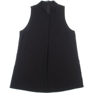 Theory Womens Talniza Crepe Zipper Pullover Top