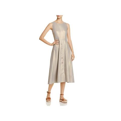 Donna Karan Womens Midi Dress Linen Metallic