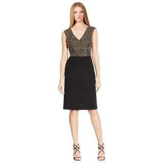 Teri Jon Head-Turning Beaded Overlay Sleeveless Cocktail Dress