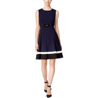 Calvin Klein Womens Wear to Work Dress Pleated Colorblock