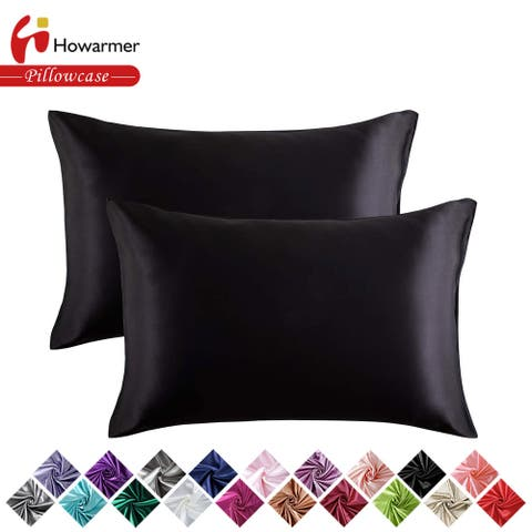 Satin Pillowcase with Envelope Closure, Set of 2 Silk Pillow Covers