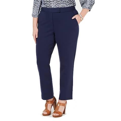 Michael Kors Womens Pants Navy Blue Size 2X Plus Ponte Slim Leg Stretch