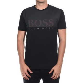 Hugo Boss Green Men's Label Tee 8 Premium Jersey T-Shirt Black Regular Fit