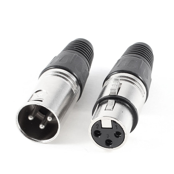 Unique Bargains Audio MIC Speaker XLR 3 Terminal Male/Female Locking Connector Black Silver Tone