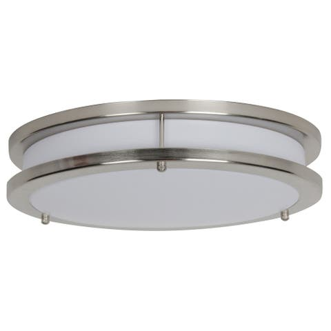 Sunset Lighting 14 Inches LED Ceiling Mount Light - Etched White Opal Acrylic Lens, Dimmable - with Bright Satin Nickel Finish