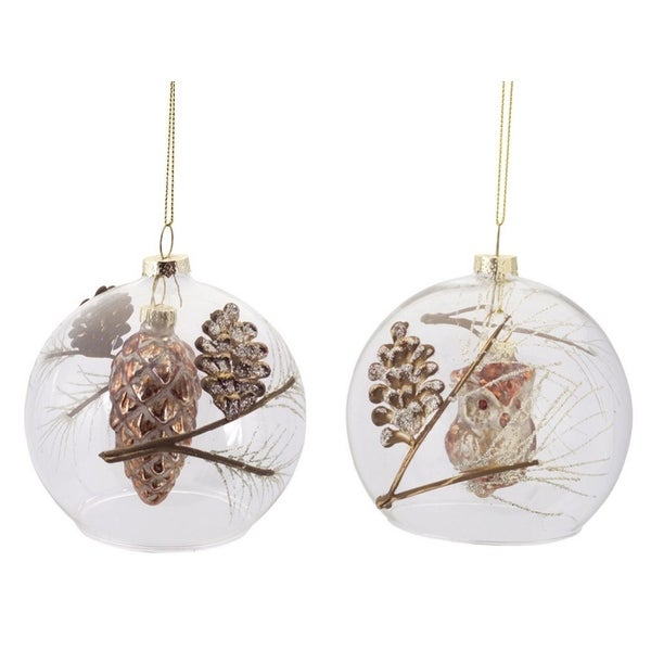 12 Rustic Country Pine Cone and Owl Clear Glass Ball Filled Christmas Ornaments 4.5""