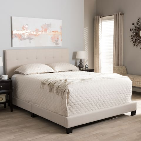 Brookfield Modern and Contemporary Beige Fabric Upholstered Grid-tufting King Size Bed