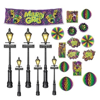 """Club Pack of 252 Mardi Gras Jesters, Banners and Street Light Wall Decorations 46"""""""