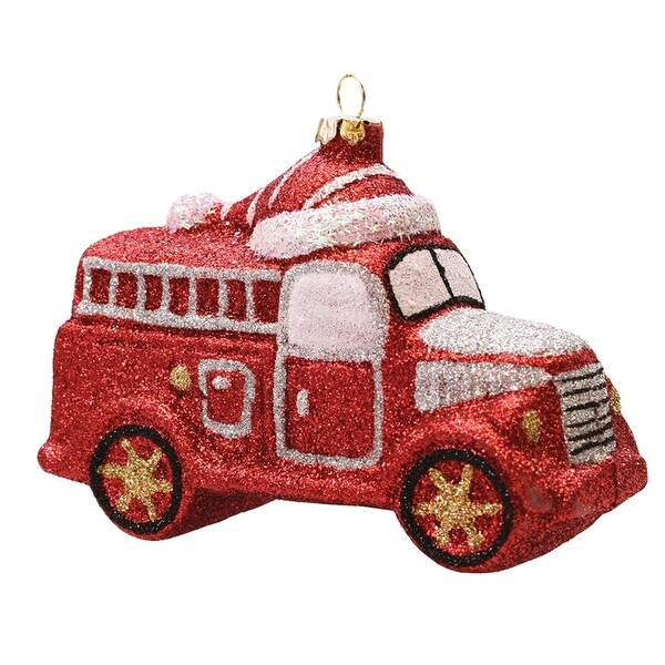 "4.75"" Merry & Bright Red, Silver and White Glitter Shatterproof Fire Truck Christmas Ornament - RED"