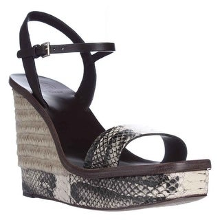 Tory Burch Malaga Wedge Espadrille Sandals - Black/Ivory