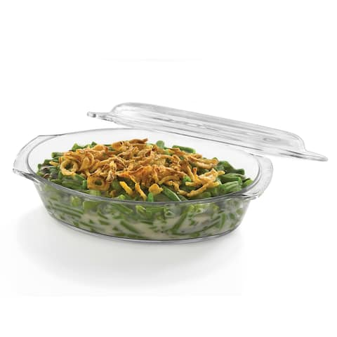 Libbey Baker's Basics Glass Oval Casserole Baking Dish with Cover, 1.6-quart