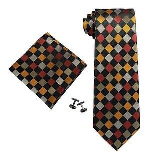 Men's Multi Color Plaids & Checks 100% Silk Neck Tie Set Cufflinks & Hanky