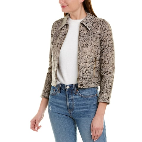 Joie Abraham Leather Jacket - 230-GRAVEL