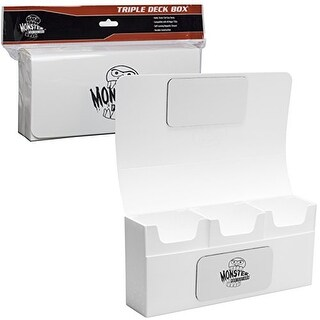 Deck Box- Magnetic Triple Deck Box (WHITE) by Monster Protectors
