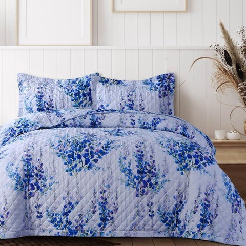 Azores Home Floral Printed Oversized Quilt Set