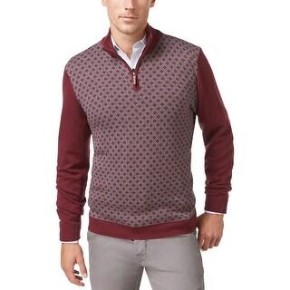 Tasso Elba 1/4 Zip Diamond Pattern Sweater Port Burgundy Combo Large L