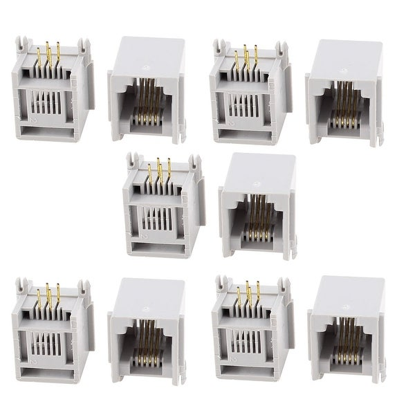 Unique Bargains Push in Type Head RJ11 6P4C Socket Jack Telephone Phone Connectors 10Pcs