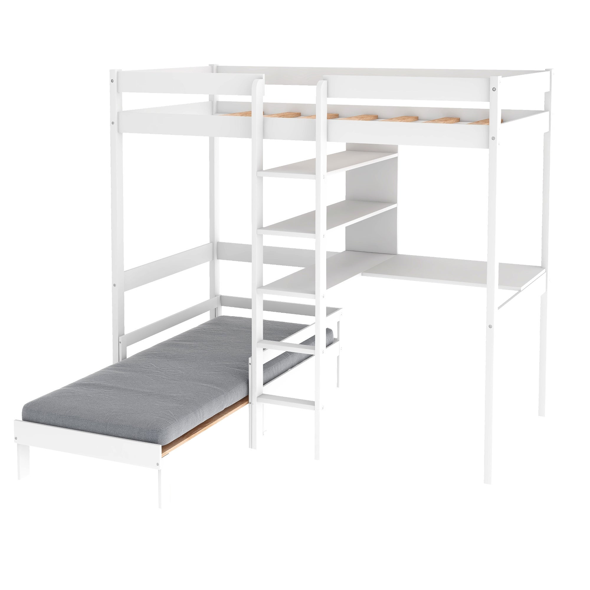 Picture of: Shop White Twin Convertible Loft Bed With L Shape Desk Overstock 32248864