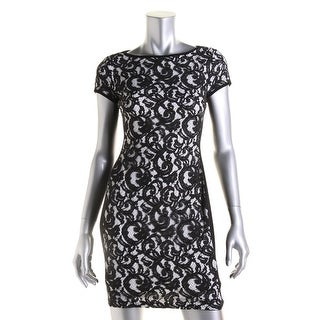 Lauren Ralph Lauren Womens Petites Lace Short Sleeves Wear to Work Dress