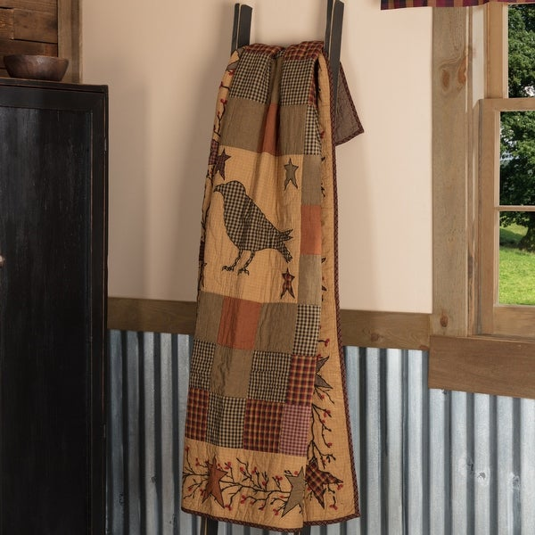Heritage Farms Applique Crow and Star Quilted Throw 60x50. Opens flyout.