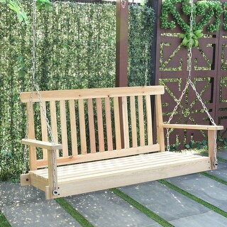 Costway 4 FT Porch Swing Natural Wood Garden Swing Bench Patio Hanging Seat Chains