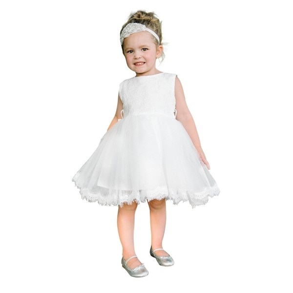 Think Pink Bows Baby Girls Off-White Lace Charlotte Flower Girl Dress 1Y