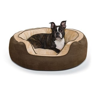"K&H Pet Products Round n' Plush Bolster Dog Bed Medium Chocolate/Tan 24"" x 30"" x 10"""