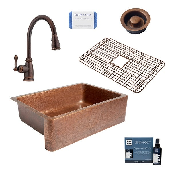 """Adams 33"""" Farmhouse Copper Kitchen Sink with Canton Faucet and Strainer Drain. Opens flyout."""