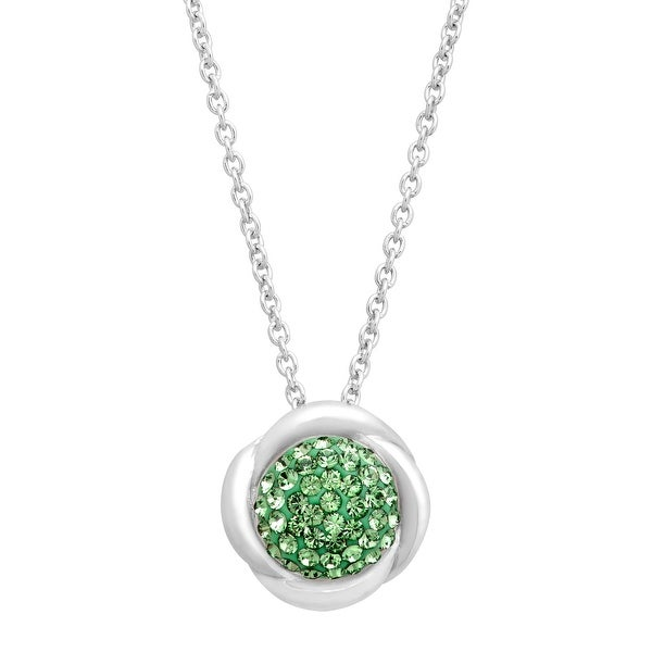 Crystaluxe Wreath Pendant with Peridot Swarovski elements Crystals in Sterling Silver