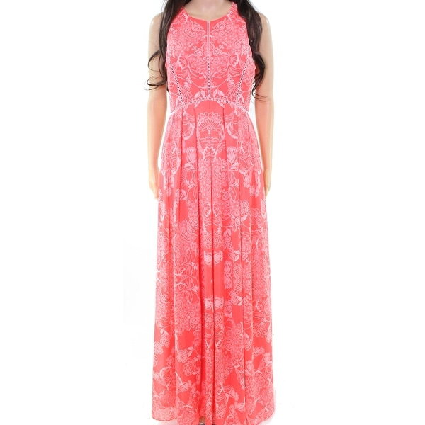 Vince Camuto Pink Womens Size 2 Eyelet Trim Pleated Maxi Dress