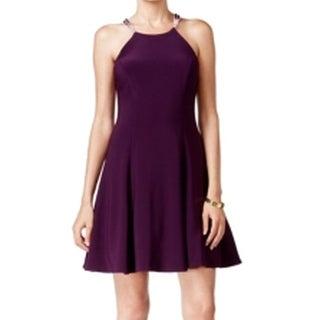 Betsy & Adam NEW Purple Womens 8P Petite Halter Fit Flare Sheath Dress
