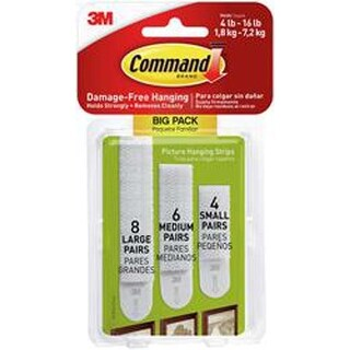 Assorted (8 Large; 6 Medium; 4 Small) - Command Assorted Picture Hanging Strips
