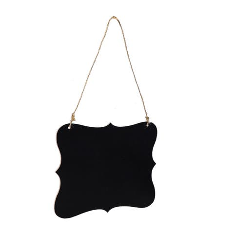 Irregular Shape Wood Mini Chalkboard Sign Tag with Hanging Rope Board Signs - Black