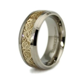 Titanium Ring w/ Golden Dragon Design Inlay