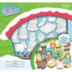 Very Merry Christmas Nativity 11/Pkg - Plaster Ornament Kit