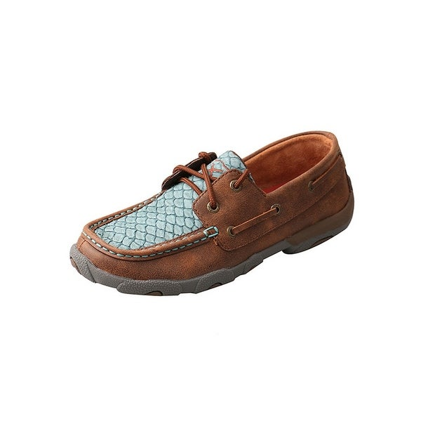 Twisted X Casual Shoes Womens Fish Print Red Buckle Brown Blue