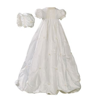 Baby Girls Off-White Silk Bubble Venice Lace Christening Dress Outfit