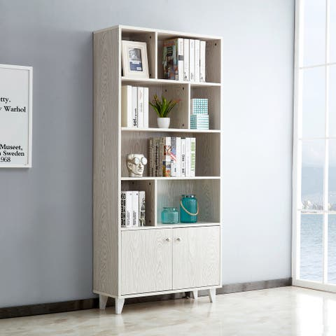 White 68'' H x 31.5'' W Standard Bookcase with Doors