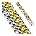 Stainless Steel and Plated Gold Dual Band Bracelet (23 mm) - 8.75 in - Thumbnail 0