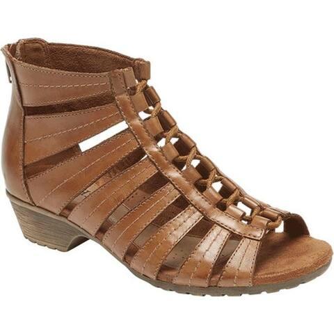 Rockport Women's Cobb Hill Gabby Gladiator Bootie Tan Full Grain Leather